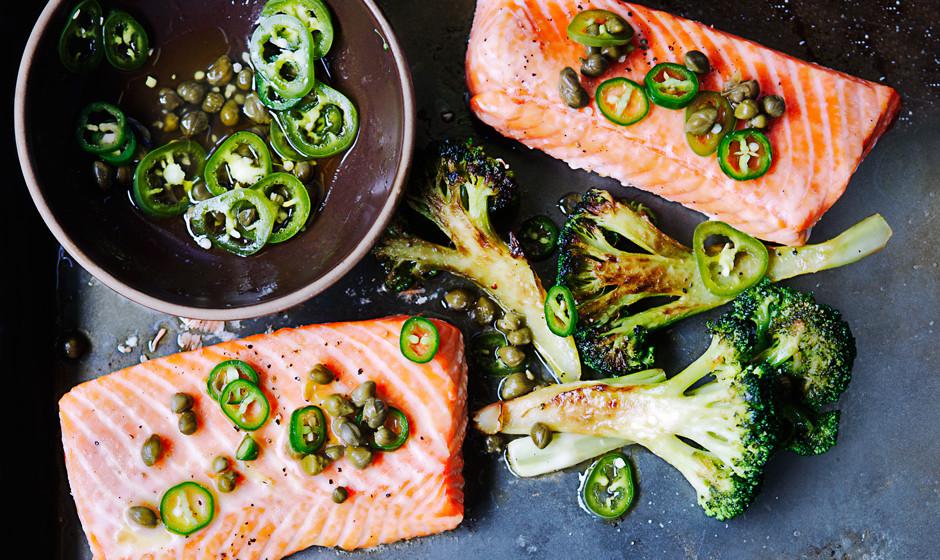 roast-salmon-and-broccoli-with-chile-caper-vinaigrette-940x560